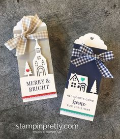 SHOP FOR STAMPIN' UP! ON-LINE! How to create two simple holiday tags with Hearts Come Home & Hometown Greetings Edgelits Dies. 1000+ ideas