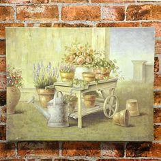 Set 2 Flowers in Wheelbarrow Wood Board Canvas Print Picture