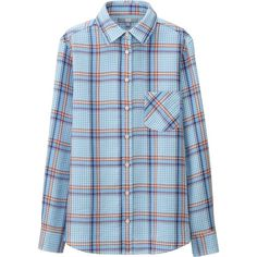 UNIQLO Double Face Check Long Sleeve Shirt ($30) ❤ liked on Polyvore featuring tops, longsleeve shirt, uniqlo shirt, blue checked shirt, blue top et uniqlo
