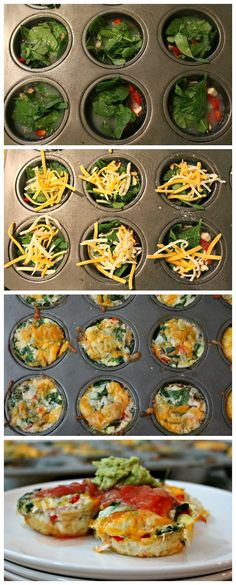 Healthy Egg White Omelets - add your veggies, eggs, cheese and bake it! You are good to go!