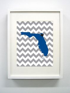 Jacksonville Florida State Glicée Print  8x10  Grey by PaintedPost, $15.00 #paintedpoststudio - Jacksonville University - Dolphins- What a great and memorable gift for graduation, sorority, hostess, and best friend gifts! Also perfect for dorm decor! :)