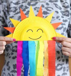 DIY Paper plate sun and rainbow craft - fun summer craft for kids Sun Crafts, Foam Crafts, Easy Crafts, Craft Foam, Popsicle Stick Crafts, Craft Stick Crafts, Preschool Crafts, Popsicle Sticks, Paper Plate Crafts