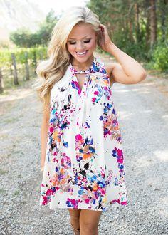 I Won't Lie To You Cream Floral Tank Dress - Modern Vintage Boutique