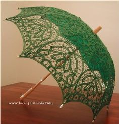 Battenburg Lace parasol length measures (from top to bottom). Battenburg Lace in a whimsical floral design. Lace Umbrella, Lace Parasol, Under My Umbrella, Wedding Parasol, Vintage Umbrella, Lace Wedding, Mean Green, Go Green, Green Colors