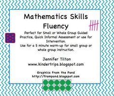 kindertrips: Common Core-Mathematics Skills Fluency-Big Freebie Great for grade tutorials Kindergarten Math Activities, Fun Math, Math Resources, Teaching Math, Maths, Teaching Ideas, Math Skills, Math Lessons, Mastering Math