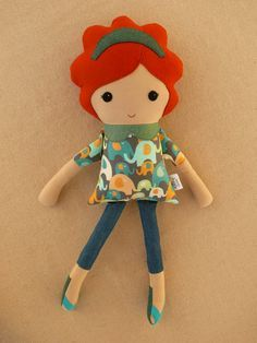 Fabric Doll Rag Doll Red Haired Girl in Elephant by rovingovine Doll Toys, Baby Dolls, Fabric Toys, Paper Toys, Sewing Dolls, Soft Dolls, Diy Doll, Stuffed Toys Patterns, Cute Dolls