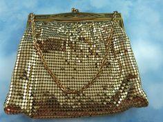 Signed Whiting & Davis Mid Century Golden Mesh Bag/Purse