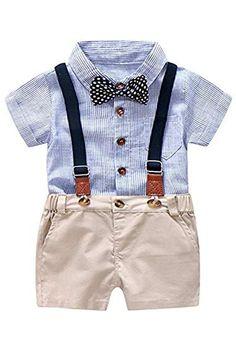 abe850a90ba2 Clearance!Toddler Baby Boy 3 Piece Gentleman Ruffle Suspenders Short Sleeve  Shirt Top with Sun