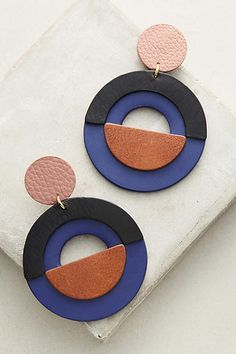 Nora Lozza Amara Earrings - geometric mod circle dangle bold statement leather earrings