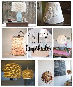 15 DIY lamp shades-can't wait to try:) Home Crafts, Fun Crafts, Diy Home Decor, Diy And Crafts, Diy Projects To Try, Craft Projects, Deco Dyi, Luminaria Diy, Do It Yourself Inspiration