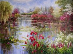 Claude Monet (1840-1926), Colorful Water Lily Pond - (Oil painting on canvas)