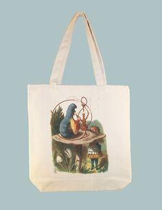 Alice and Wonderland Caterpillar Color Illustration on 15x15 Canvas Tote -- larger Zip Top tote and personalization available
