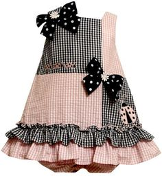 Bonnie Jean Baby/INFANT 12M-24M 2-Piece PINK BLUE LADYBUGS and BOWS CHECKERED COLOR BLOCK SEERSUCKER Spring Summer Party Dress Bonnie Jean
