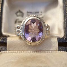 Amethyst Jewelry, Amethyst Earrings, Amethyst Stone, Purple Amethyst, Vintage Silver Jewelry, Vintage Silver Rings, Antique Jewellery, Antique Rings, Silver Jewellery