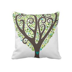 Hearts Tree Throw Pillows
