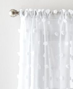 Dkny Ella Poletop Window Panels, Set of 2 - Purple Pom Pom Curtains, Cute Curtains, Curtains For Bedroom Window, Pom Poms, White Sheer Curtains, Bedroom Window Treatments, Unique Window Treatments, Boho Curtains, Beautiful Curtains