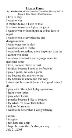 I am not a hockey player, but this applies to every team sport! Great words!