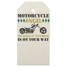 #cute - #Motorcycle Angel Wooden Gift Tags