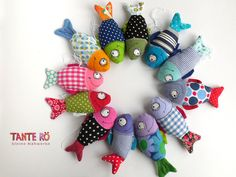 Far Out Fish Works . ( 1 Large Size - Choose Dark Blue or Blue) Fish Crafts, Diy And Crafts, Crafts For Kids, Arts And Crafts, Fish Wall Art, Fish Art, Fabric Crafts, Sewing Crafts, Sewing Projects