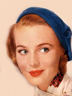 50s makeup - red-orange lips