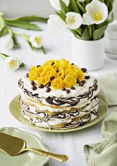 Mango-sitruunamarenkikakku | K-Ruoka No Bake Desserts, Dessert Recipes, Finnish Recipes, Easter Recipes, Easter Food, Chocolate Cheesecake, Piece Of Cakes, Sweet Cakes, Cream Cake