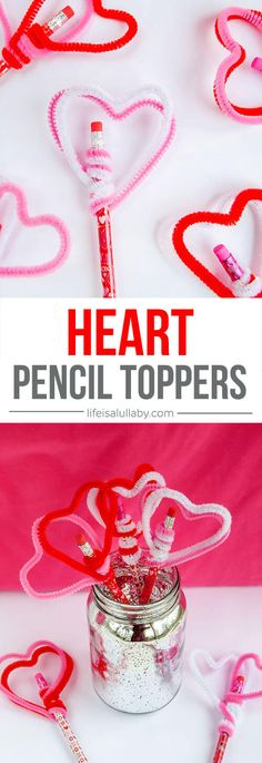 These Heart Pencil Toppers are so easy to make and are fun to use!! These are a perfect kids craft for Valentine's Day.