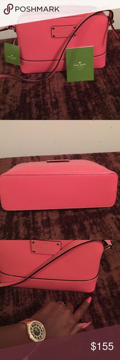 """Kate Spade """"Hanna"""" Wellesley Flamingo WKRU2895 in beautiful flamingo color. This cross body bag is new with tags and has never been used. It needs a good home and someone who can love and care for it! Great for the summer or can be the perfect gift for someone special. kate spade Bags Crossbody Bags"""