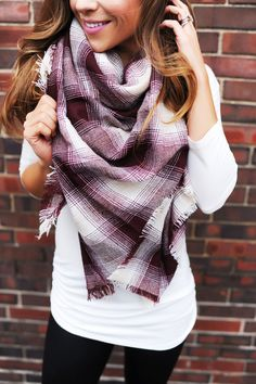 Maroon/Ivory Plaid Blanket Scarf - Dottie Couture Boutique