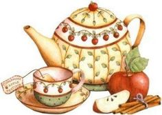 Perfect for a Fall tea party! Tee Kunst, Country Paintings, Teapots And Cups, Tea Art, Country Art, Decoupage Paper, Tole Painting, Kitchen Art, Food Illustrations