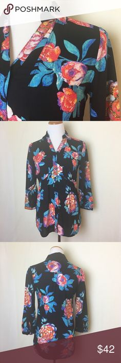 Gorgeous Maeve floral blouse Black button down top with beautiful floral pattern. Three quarter sleeves. Loose fitting. Would look fabulous paired with the red Elevenses trousers in my closet  excellent like new condition. Anthropologie Tops