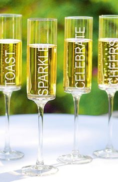 Free shipping and returns on CATHY'S CONCEPTS 'Celebrate!' Contemporary Champagne Flutes at Nordstrom.com. Celebrate, toast, sparkle and cheer with a set of four etched champagne flutes cut with modern, squared-off silhouettes.
