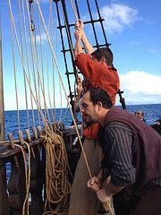 Hoisting the sails on Santa Maria (tedesco57) Tags: santa wood columbus cake ship wine maria explorer christopher replica sail setting madeira colombo funchal
