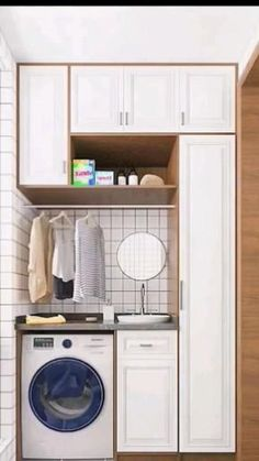 Small Room Design, Kitchen Room Design, Modern Kitchen Design, Home Decor Kitchen, Room Design Bedroom, Home Room Design, Home Interior Design, Outdoor Laundry Rooms, Modern Laundry Rooms