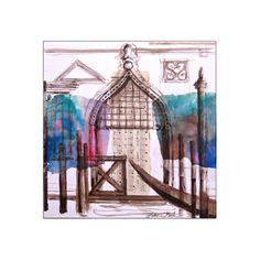 """Venise bleue Série """" Portes sur l'eau """" dessin original à l'encre sur papier : Dessins par le-jour-se-leve"""