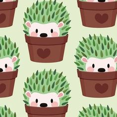 Hedgehog Illustration, Cactus Illustration, Hedgehog Drawing, Cactus Fabric, Cute Hedgehog, Hedgehog Art, Cactus Tattoo, Double Gauze Fabric, Satin Fabric