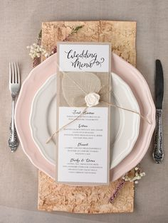 Rustic and lace burlap wedding menu @4LOVEPolkaDots