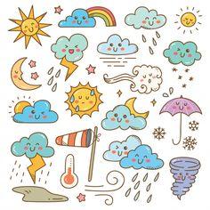 Set of weather doodles illustration Art Drawings For Kids, Doodle Drawings, Easy Drawings, Art For Kids, Kawaii Doodles, Cute Doodles, Griffonnages Kawaii, Cool Stencils, Cute Doodle Art