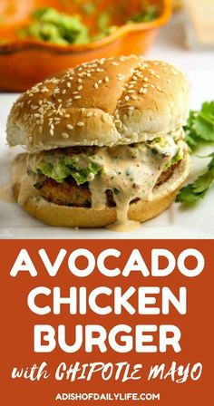 Chicken Burger Add a Tex-Mex flair to your next summer BBQ! This Chicken Burger is LOADED with flavor, grilled to perfection, piled high with smashed avocado and smothered in chipotle mayo…perfect recipe for the. Barbecue, Cooking Recipes, Healthy Recipes, Delicious Recipes, Easy Recipes, Wrap Sandwiches, Steak Sandwiches, Smashed Avocado, Sandwich Recipes
