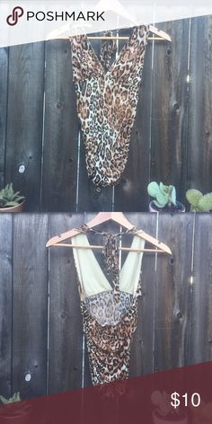 FOREVER 21 leopard swimsuit tankini SZ S FOREVER 21 leopard tankini top SZ S ruched on sides with halter tie Forever 21 Swim One Pieces