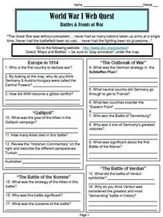 "World War I Webquest ""Battles and Fronts"" (World History). Students will use the internet to search for information about the important battles and fronts of World War One. They will also analyze a primary source related to the Battle of Somme. Common Core aligned! The website is pbs.org/greatwar. Interactive maps are included. This 2-page analysis worksheet will take your students about 1 hour to complete."