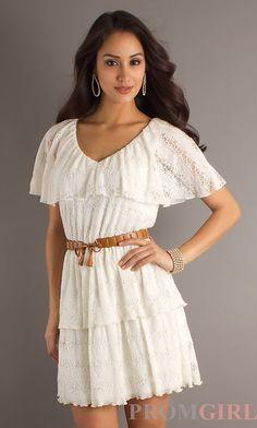 Short Belted Ivory Dress