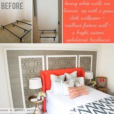 sarah m. dorsey designs: Grasscloth + Nailhead Feature Wall Tutorial