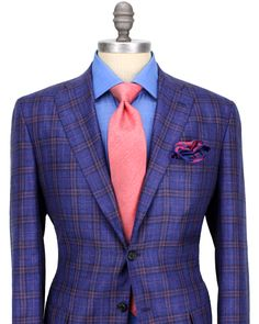 Kiton Midnight Blue with Pink Plaid Sportcoat