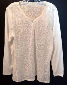 Soft Surroundings White Long Sleeve Blouse Size M | eBay