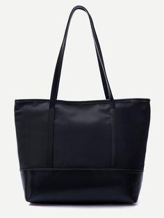 #AdoreWe #SheIn Bags - SheIn Black PU Trim Nylon Tote Bag - AdoreWe.com