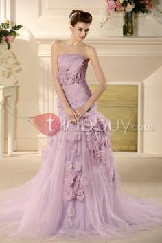 Brilliant Trumpet/Mermaid Strapless Flowers Color Wedding Dress