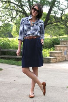 gingham buttondown shirt, brown leather belt, navy a-line skirt, brown flats, business casual outfit