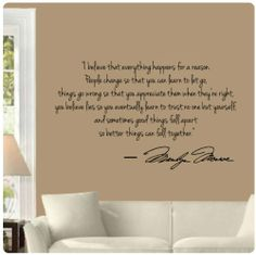 Marilyn Monroe Wall Decal Decor: Quote I Believe things happen...Decals, http://www.amazon.com/dp/B0062QC8C4/ref=cm_sw_r_pi_dp_x7ARsb0M849GFJQR
