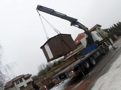 Transport of wood house, crane lorry, crane service, Luktrans