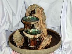 Abalone shells and petrified wood by Waterfalls by Santiago Paua Shell, Abalone Shell, Petrified Wood, Shell Art, Box Art, Water Features, Shells, Projects To Try, Vase